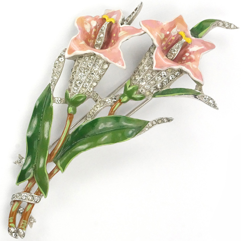 Trifari 'Alfred Philippe' Pink Lilles Floral Spray Pin Clip