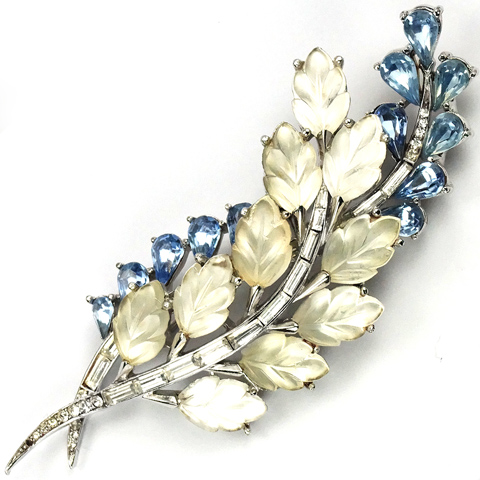 Trifari Blue Topaz Diamante Baguettes and Satin Fruit Salads Floral Spray Pin