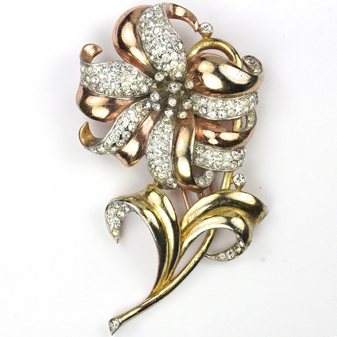 Trifari 'Alfred Philippe' Pave and Two Colour Gold Large Lily Pin Clip