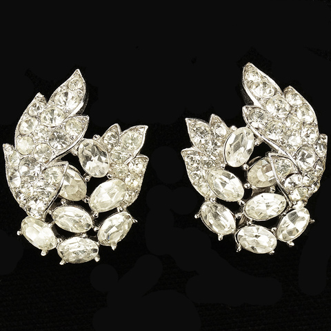 Trifari 'Alfred Philippe' Pave and Diamonds Flower and Leaf Swirl Clip Earrings