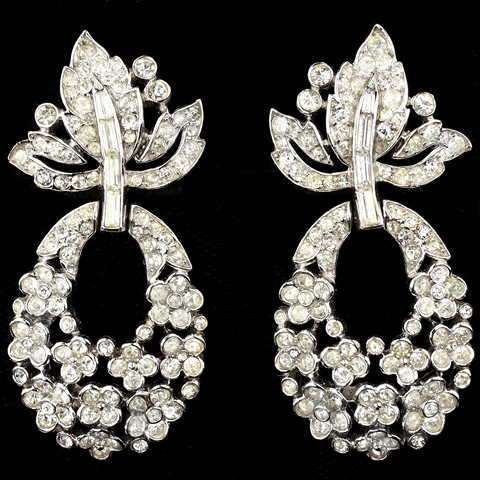 Trifari 'Alfred Philippe' Pave Leaf and Pendant Garland Clip Earrings