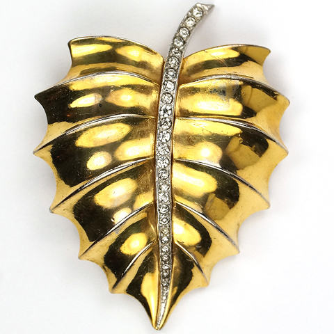 Trifari 'Alfred Philippe' Golden Leaf with Pave Stem Pin Clip