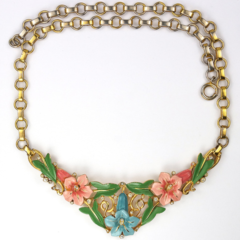 Trifari 'Alfred Philippe' Pink and Blue Lillies and Leaves Enamelled Floral Spray Necklace
