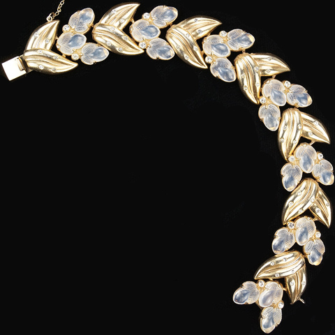 Trifari 'Alfred Philippe' Spangled Golden Leaves and Moonstone Fruit Salads Bracelet