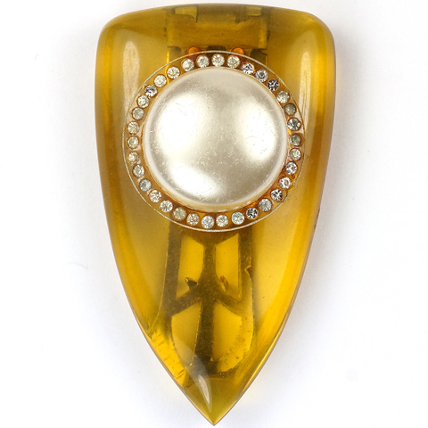 Trifari 'Maggy Rouff' Applejuice Bakelite and Pearl Deco Shield Dress Clip