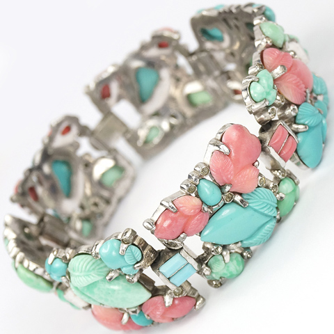 KTF Trifari 'Alfred Philippe' Jade Coral and Turquoise Fruit Salads Wide Seven Link Bracelet