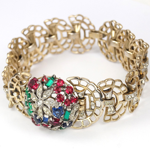Trifari Sterling 'Alfred Philippe' 'Riviera' Series  Tricolour Floral Dome and Openwork Leaves Link Bracelet