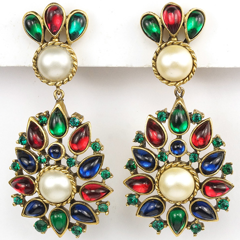 Trifari 'Alfred Philippe' Moghul Jewels of India Tricolour Cabochons and Pearls Pendant Clip Earrings