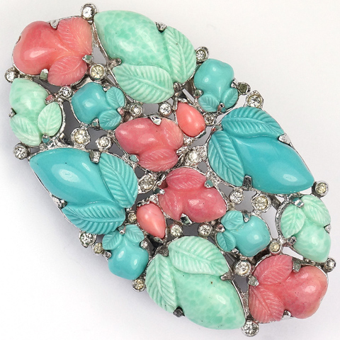 KTF Trifari 'Alfred Philippe' Jade Coral and Turquoise Fruit Salads Clipmate Pin or Pair of Dress Clips