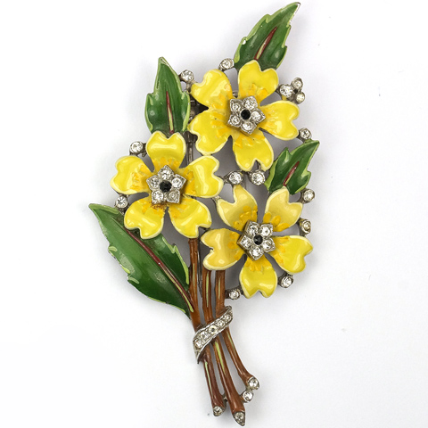 Trifari 'Alfred Philippe' Triple Yellow Flowers Floral Spray Pin Clip