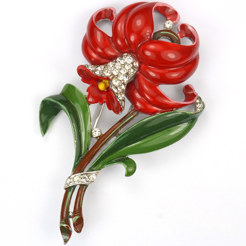 Trifari 'Alfred Philippe' Pave and Enamel Red Daffodil Pin Clip