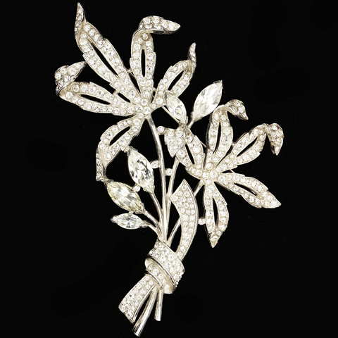 Trifari 'Alfred Spaney' Double Pave Flower with Bow Pin