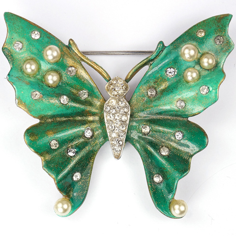 Trifari 'Alfred Philippe' Pearls and Green Enamel Butterfly Pin