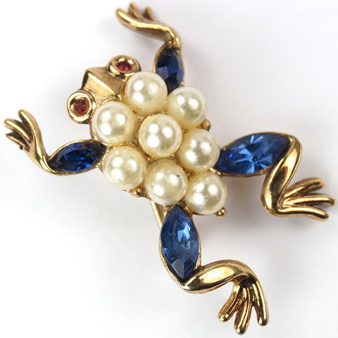 Trifari 'Alfred Philippe' Pearls and Sapphires Miniature Frog Pin
