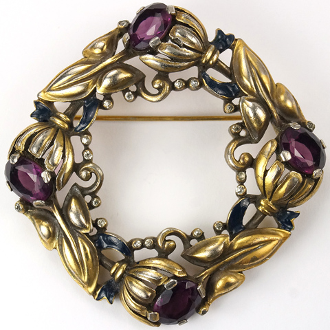 KTF Trifari 'Alfred Philippe' Gold Enamel and Amethyst Bellflowers Floral Garland Wreath Pin