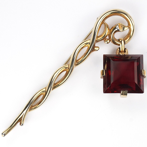 Trifari 'Alfred Philippe' Square Cut Ruby Pendant from Branch Pin