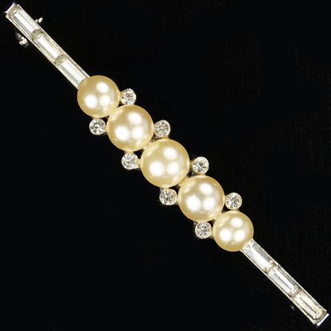 Trifari 'Alfred Philippe' Graduated Pearls and Baguettes Smaller Bar or Tie Pin