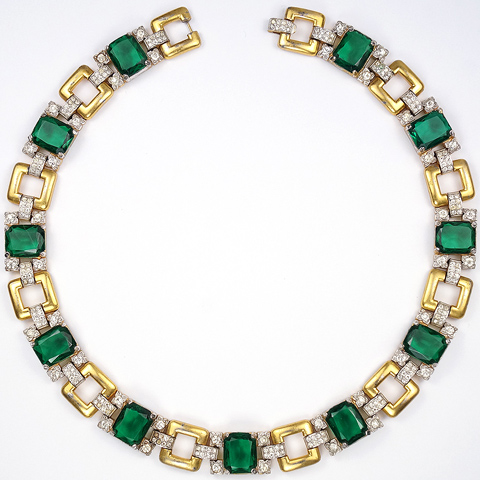 Trifari 'Alfred Philippe' Gold Pave and Emerald Necklace