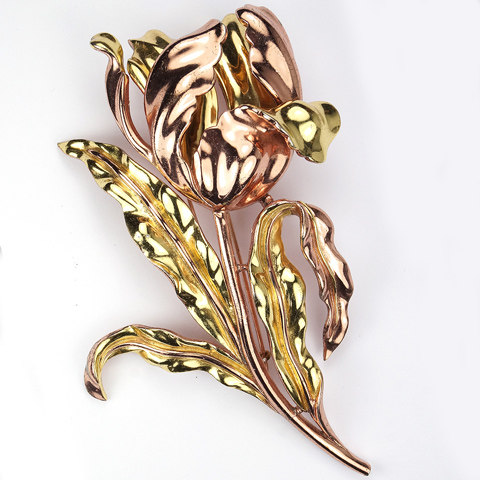 Trifari 'Alfred Philippe' Yellow and Rose Gold Giant Tulip Pin Clip