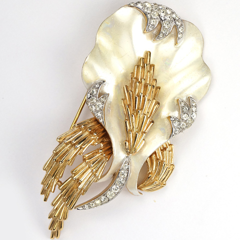 Trifari 'Alfred Philippe' Gold Pave and Mother of Pearl Swaying Coral and Seaweed Pin