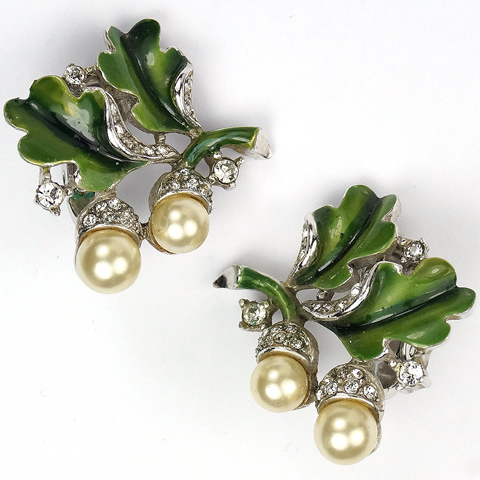 Trifari 'Alfred Philippe' Pave Green Enamel and Pearl Acorns and Oak Leaves Clip Earrings