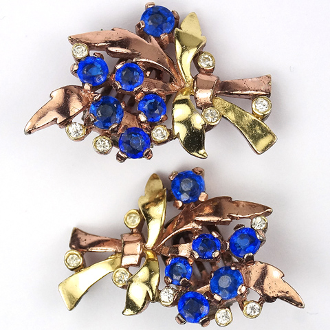 Trifari 'Alfred Philippe' Two Colour Gold Leaves and Sapphire Flowers Floral Spray Clip Earrings