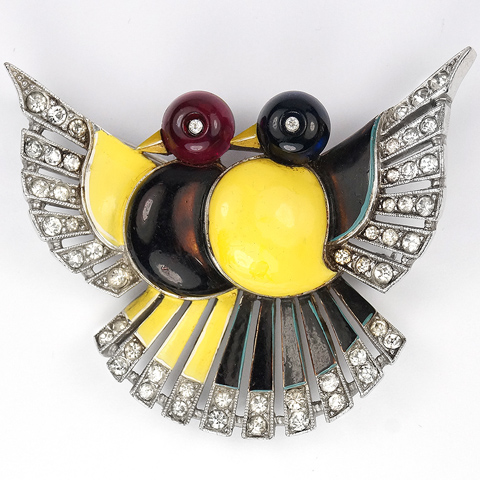 Trifari 'Alfred Philippe' Pair of Red Yellow and Black Love Birds Pin