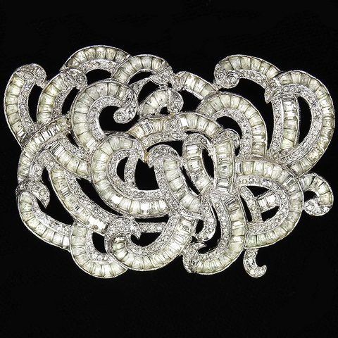KTF Trifari 'Alfred Philippe' Deco Pave and Invisibly Set Diamonds Tangle of Multiple Swirls Pin