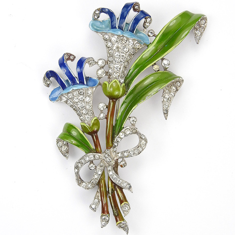 Trifari 'Alfred Philippe' Pave and Enamel Two Lillies with Blue Stamens and Pave Bow Floral Spray Pin