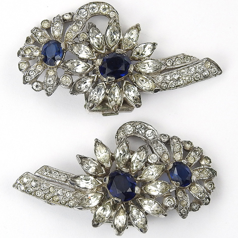 KTF Trifari 'Alfred Philippe' Sapphire and Diamonds Double Sunflower Clip Earrings