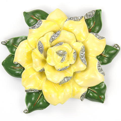 Trifari 'Alfred Philippe' Blooming Yellow Rose Flower Pin Clip