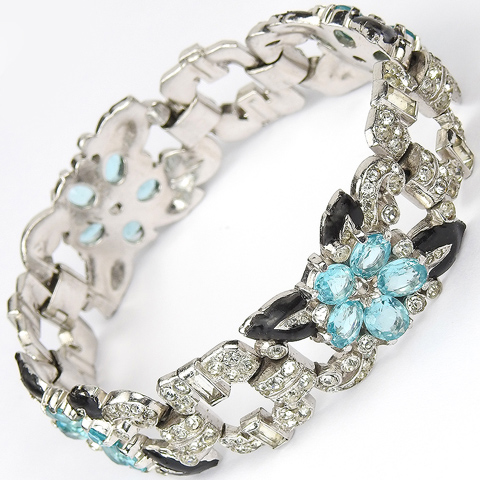 Trifari 'Alfred Philippe' Aquamarine Pastel Stones Four Element Flowers and Black Enamelled Leaves Bracelet