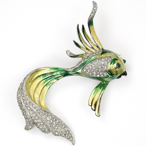 KTF Trifari 'Alfred Philippe' Pave and Metallic Enamel Fan Tailed Tropical Fish Pin
