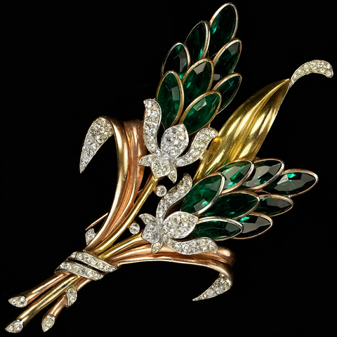 Trifari 'Alfred Philippe' Giant Two Colour Gold and Emeralds Double Lotus Flowers Floral Spray Pin Clip