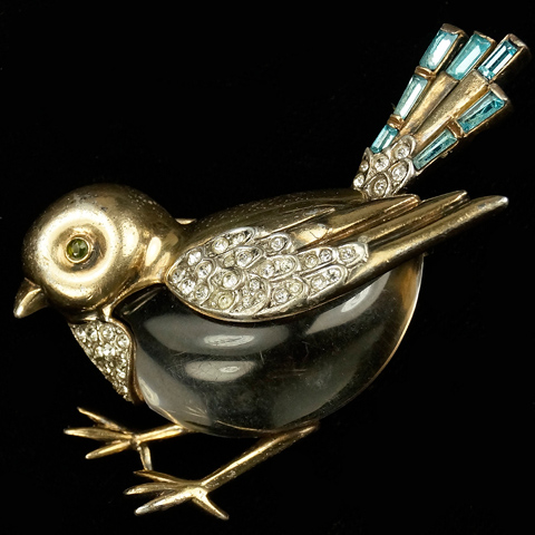 Trifari Sterling 'Alfred Philippe' Jelly Belly Sparrow Bird Pin