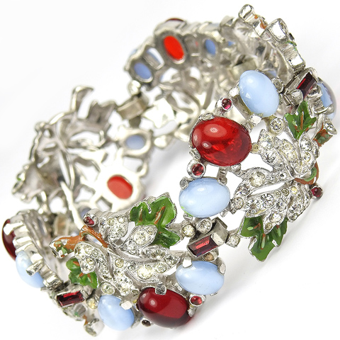 Trifari 'Alfred Philippe' Pave and Enamel Leaves and Blue Moonstone and Ruby Cabochon Berries Six Link Floral Bracelet