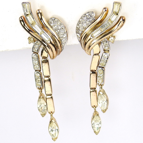 Trifari 'Alfred Philippe' Gold Pave and Baguettes Double Pendant Clip Earrings