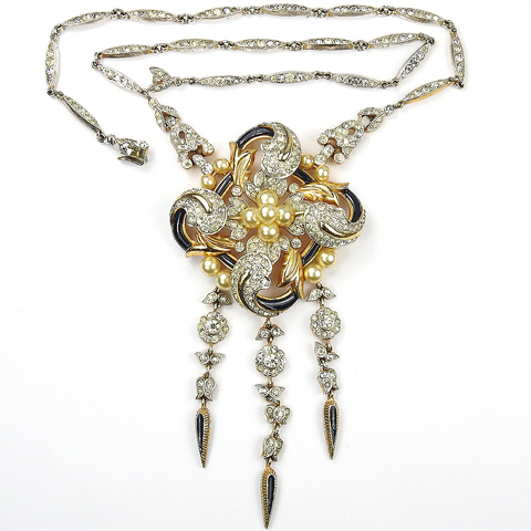 Trifari 'Alfred Philippe' Empress Eugenie Gold and Pearls Square Swirl and Triple Pendants Necklace
