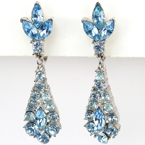 Trifari 'Alfred Philippe' Aquamarine Pendant Clip Earrings
