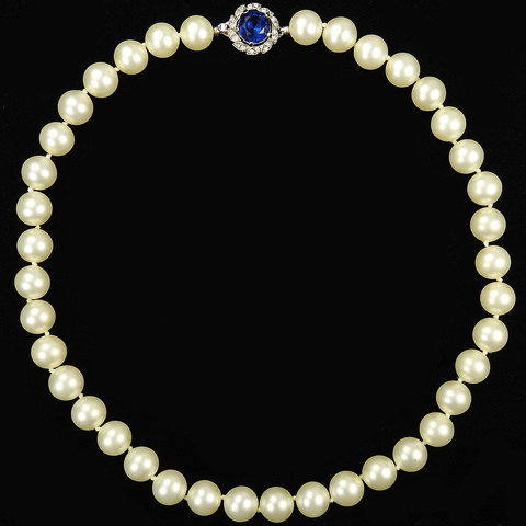 Trifari 'Alfred Philippe' Single Line of Pearls with Pave and Sapphire Clasp Choker Necklace