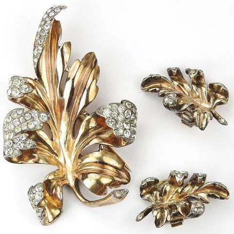 Trifari Sterling 'Alfred Philippe' Gold and Pave Leaf Pin Clip and Clip Earrings Set