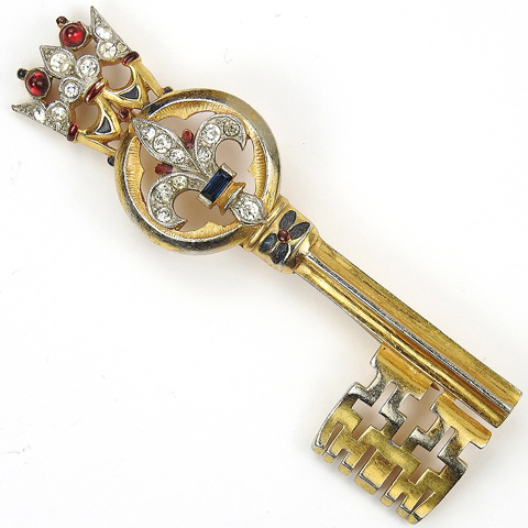 Trifari 'Alfred Philippe' Crown and Fleur de Lys Key Pin