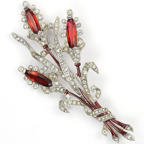 Trifari 'Alfred Philippe' Pave Enamel and Triple Ruby Floral Spray Pin