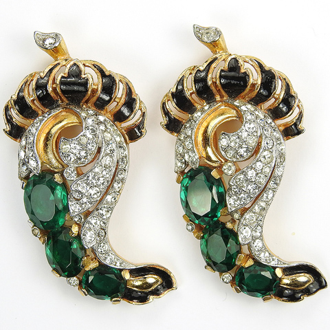 Trifari 'Alfred Philippe' Gold Pave Black Enamel and Emeralds Paisley Design Pair of Pin Clips