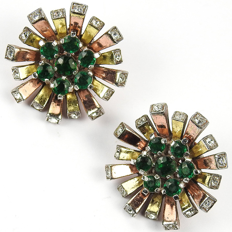 Trifari 'Alfred Philippe' Yellow and Rose Gold with Emeralds and Diamante Spangles Starflower Clip Earrings