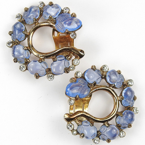 Trifari 'Alfred Philippe' Gold and Sapphire Fruit Salads Horseshoe Clip Earrings