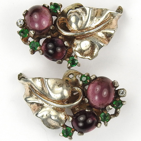 Trifari Sterling 'Alfred Philippe' Gold Amethyst and Sapphires Grapes on Vine Clip Earrings