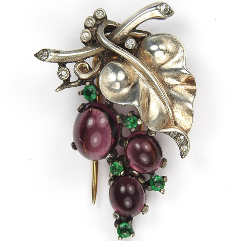 Trifari Sterling 'Alfred Philippe' Smaller Amethyst Cabochon Grapes on Vine Pin Clip