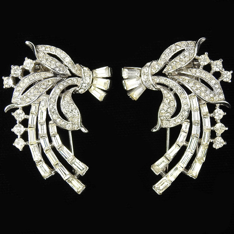 Trifari 'Alfred Philippe' Matched Pair of Pave and Baguette Leaf Spray Pin Clips