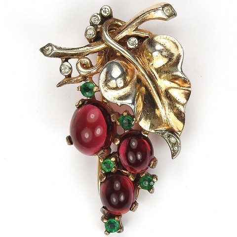 Trifari Sterling 'Alfred Philippe' Smaller Ruby Cabochon Grapes on Vine Pin Clip